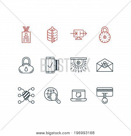 Editable Pack Of Corrupted Mail, Safeguard, Easy Payment And Other Elements.  Vector Illustration Of 12 Security Icons.