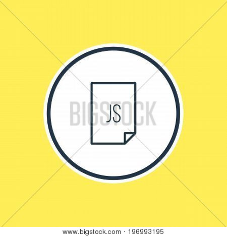 Beautiful Document Element Also Can Be Used As Script  Element.  Vector Illustration Of Js Outline.