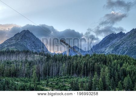 Panorama of the High Tatras of a large rocky mountain with forest in the Slovak Republic