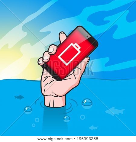 Drowning man with Smartphone in Hand with low battery icon on red screen