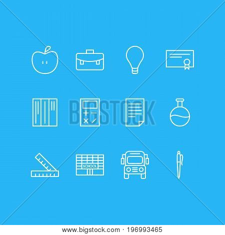 Editable Pack Of Paper, Bulb, Tube And Other Elements.  Vector Illustration Of 12 Science Icons.