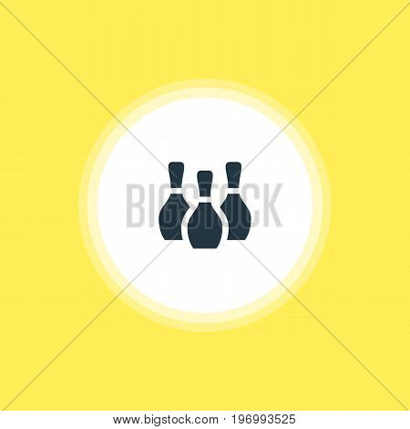 Beautiful Location Element Also Can Be Used As Skittles Element.  Vector Illustration Of Bowling Pins Icon.
