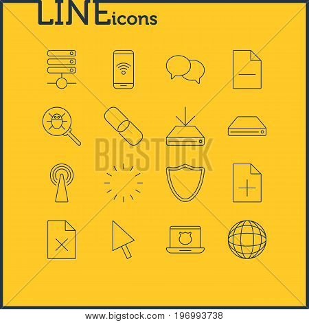 Editable Pack Of Delete Data, Router, Telephone And Other Elements.  Vector Illustration Of 16 Web Icons.