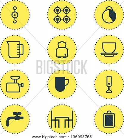 Editable Pack Of Timekeeper, Steelyard, Tea Cup And Other Elements.  Vector Illustration Of 12 Restaurant Icons.