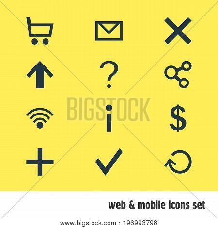 Editable Pack Of Letter, Money Making, Help And Other Elements.  Vector Illustration Of 12 User Icons.