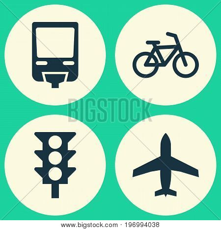 Transport Icons Set. Collection Of Aircraft, Railroad, Stoplight And Other Elements