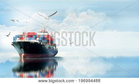 Logistics and transportation of International Container Cargo ship in the ocean with Group of Birds Freight Transportation Shipping