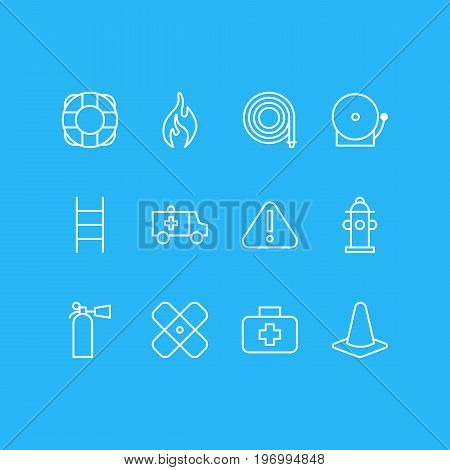 Editable Pack Of Safety, Stairs, Medical Case And Other Elements.  Vector Illustration Of 12 Necessity Icons.