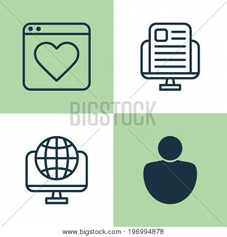 Internet Icons Set. Collection Of Followed, Global, Blog Page And Other Elements