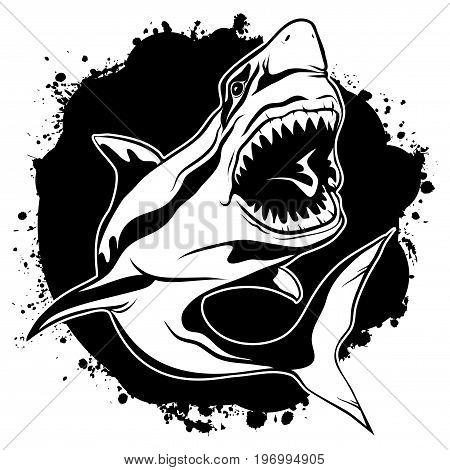Vector illustration emblem of evil shark with open jaws on background black ink stains