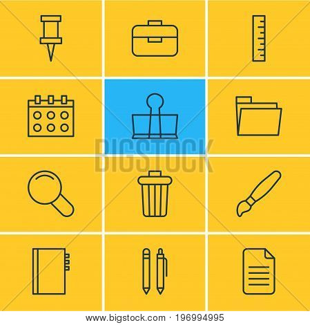 Editable Pack Of Portfolio, Dossier, Binder Clip And Other Elements.  Vector Illustration Of 12 Instruments Icons.