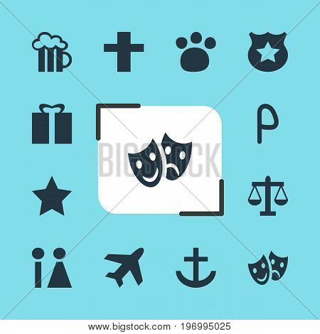 Editable Pack Of Bookmark, Toilet, Aircraft And Other Elements.  Vector Illustration Of 12 Travel Icons.