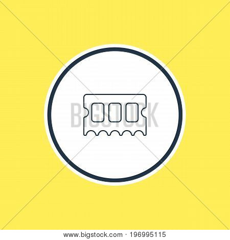 Beautiful Laptop Element Also Can Be Used As Memory Chip Element.  Vector Illustration Of Ram Outline.