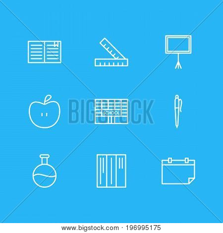 Editable Pack Of Fruit, Meter, Bookshelf And Other Elements.  Vector Illustration Of 9 Education Icons.