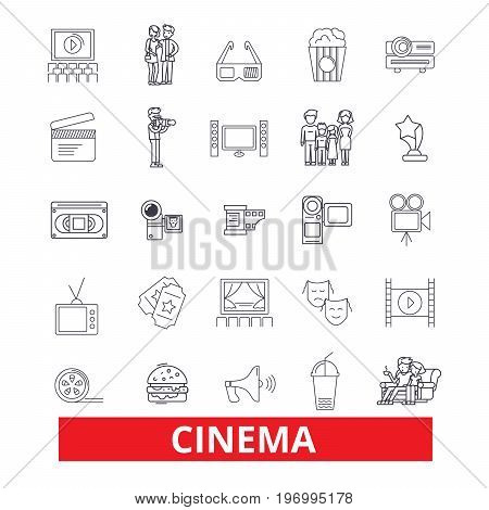 Cinema, film, movie, theatre, entertainment, cinematography, industry, festival line icons. Editable strokes. Flat design vector illustration symbol concept. Linear signs isolated on white background