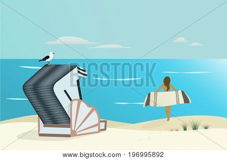 Summertime. North Sea at the beach with girl holding a towel, roofed wicker beach chair and sea gull.