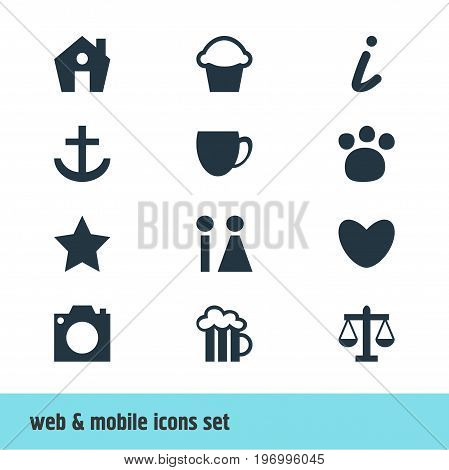 Editable Pack Of Toilet, Cake, Pet Shop And Other Elements.  Vector Illustration Of 12 Travel Icons.