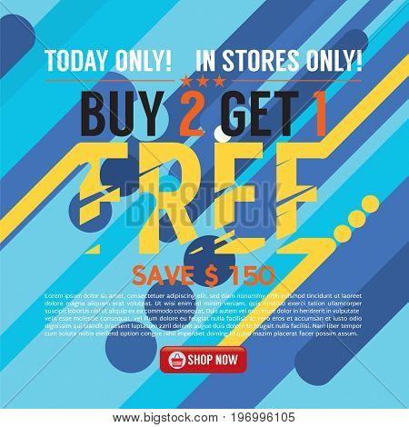 Buy 2 Get 1 Free Background Banner Vector Illustration. EPS 10