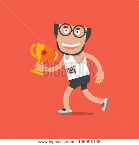 Running Man With Trophy Vector Illustration. EPS 10