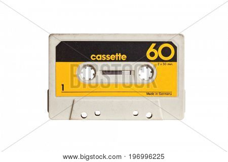 vintage audio cassette isolated on white background