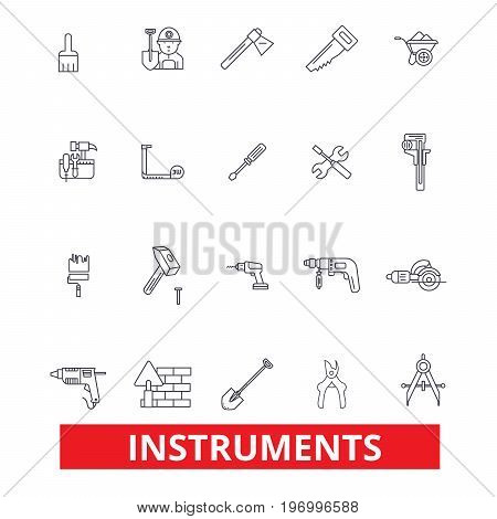 Instruments, equipment, appliance, gadget, gear, tools, device, apparatus, machine line icons. Editable strokes. Flat design vector illustration symbol concept. Linear signs isolated on background