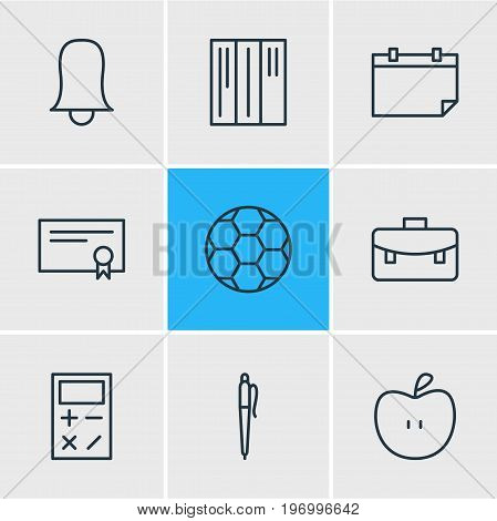 Editable Pack Of Bookshelf, Portfolio, Fruit And Other Elements.  Vector Illustration Of 9 Science Icons.