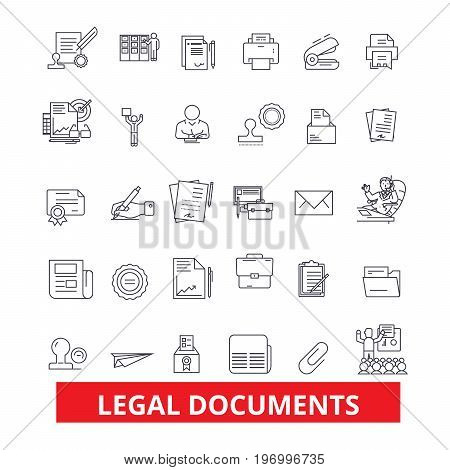 Legal documents, archive, deed, record, papers, legal files, legislation, form line icons. Editable strokes. Flat design vector illustration symbol concept. Linear signs isolated on white background