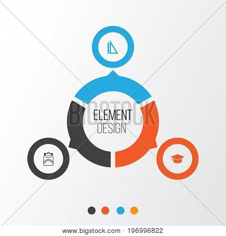 School Icons Set. Collection Of Haversack, Measurement, Graduation And Other Elements
