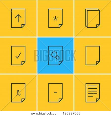 Editable Pack Of Document, Munus, Search And Other Elements.  Vector Illustration Of 9 File Icons.