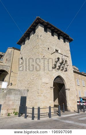 Porta del Loco San Francesco Gate or City Gate. The main gate of the San Marino old town.
