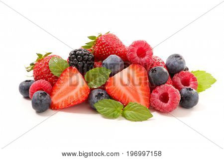 assorted berry fruit isolated on white background