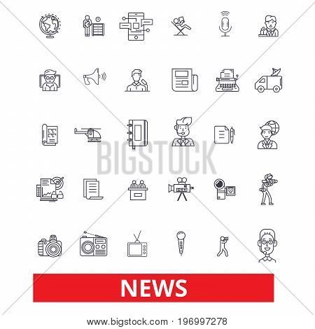 News, events, facts, data, report, comments, communication, discovery, report, story line icons. Editable strokes. Flat design vector illustration symbol concept. Linear signs isolated on white background