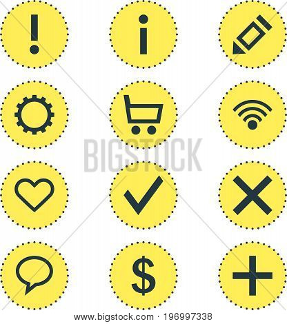 Editable Pack Of Pen, Confirm, Talk Bubble And Other Elements.  Vector Illustration Of 12 Member Icons.