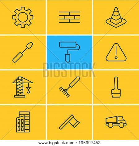 Editable Pack Of Lifting, Road Sign, Lorry And Other Elements.  Vector Illustration Of 12 Construction Icons.