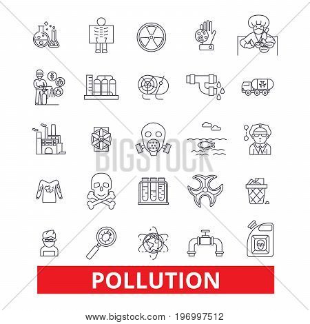 Pollution, dirt, erosion, deterioration, toxic, environment, ecology, damage line icons. Editable strokes. Flat design vector illustration symbol concept. Linear signs isolated on white background