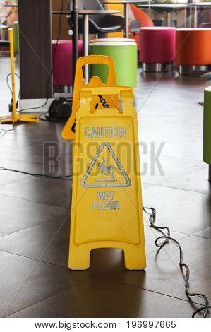 Single Of Yellow Label Warning Of Slippery Floor