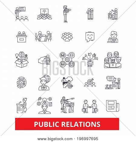 Pubility, fame, advertising, public relations, reputation, marketing, promote, line icons. Editable strokes. Flat design vector illustration symbol concept. Linear signs isolated on white background