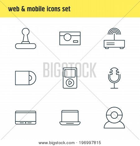 Editable Pack Of Video Chat, Photography, Dvd Drive And Other Elements.  Vector Illustration Of 9 Hardware Icons.