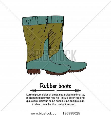 Handdrawn vector doodle logo with blue rubber boots.