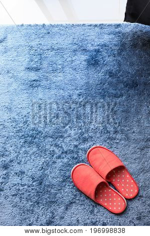 Red Slipper Shoe On Blue Carpet Floor Softness Mat