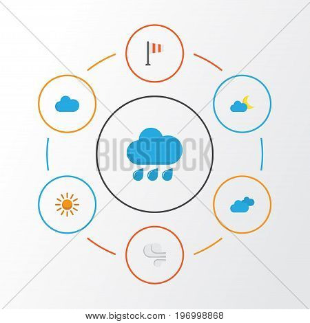 Climate Flat Icons Set. Collection Of Crescent, Storm, Cloud And Other Elements