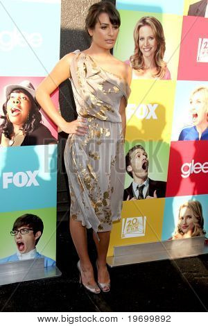 """LOS ANGELES - JUL 27:  Lea Michele arrives at Fox's """"Glee"""" Academy: An Evening of Music With the Cast of Glee at The Music Box & Henry Fonda Theater on July 27, 2010 in Los Angeles, CA ..."""
