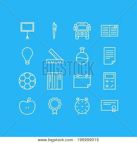 Editable Pack Of Textbook, Car, Fruit And Other Elements.  Vector Illustration Of 16 Studies Icons.