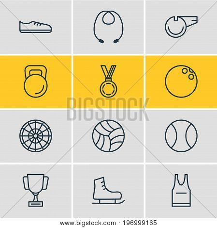 Editable Pack Of Ice Boot, Reward, T-Shirt And Other Elements.  Vector Illustration Of 12 Fitness Icons.