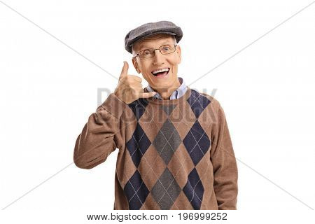 Cheerful senior making a call me gesture isolated on white background