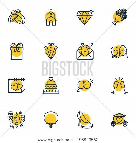 Editable Pack Of Card, Engagement, Chariot And Other Elements.  Vector Illustration Of 16 Wedding Icons.