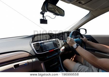 People Drive Car Travel Road Trip, Empty Blank White Background Windscreen And Window