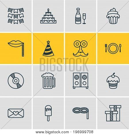 Editable Pack Of Fizz, Speaker, Cap And Other Elements.  Vector Illustration Of 16 Banquet Icons.