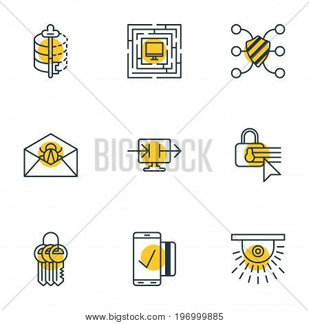 Editable Pack Of Encoder, Easy Payment, Camera And Other Elements.  Vector Illustration Of 9 Protection Icons.