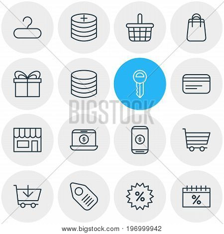 Editable Pack Of Rack, Buy, Pottle And Other Elements.  Vector Illustration Of 16 Trading Icons.